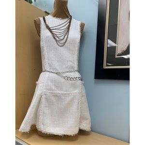 banana republic White Tweed Fit-and-flare Dress